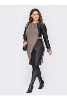 Бежево-чорне оригінальне плаття для жінок з апетитними формами