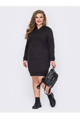 Чорне спортивне плаття з кишенею-кенгуру