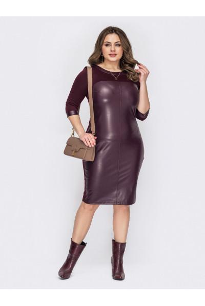 Бордове гламурне плаття з шкіряними вставками