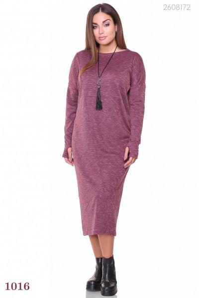 Батальне марсалове трикотажне приталене плаття