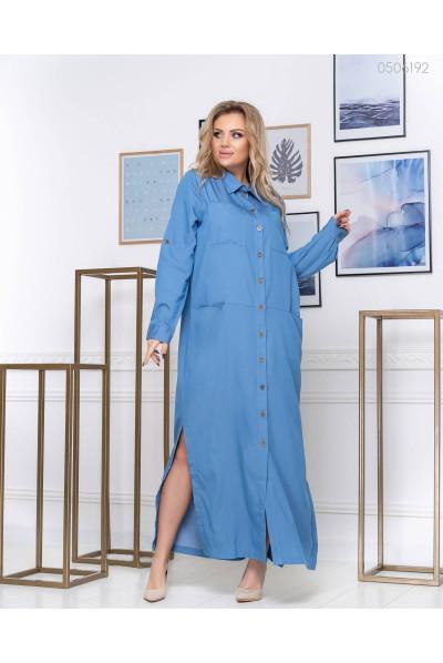 Довге синє плаття із джинсової тканини