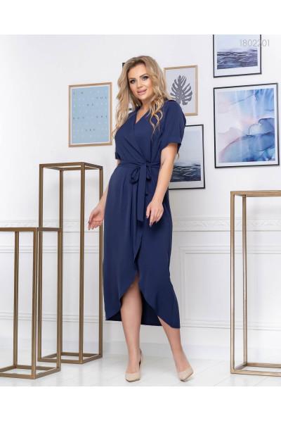 Ефектна темно-синя сукня на запах
