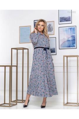 Довга клітчаста сукня pluse size