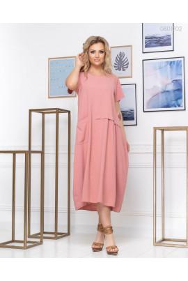 Легке рожеве плаття А-силуету