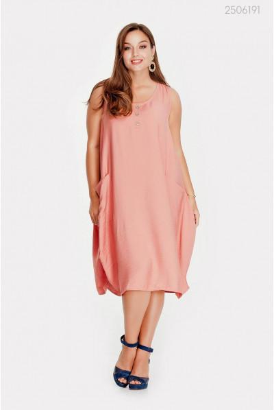 Вільне плаття великого розміру в рожевому кольорі