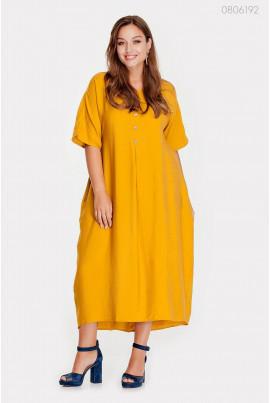 Гірчичне повсякденне платьья великого розміру