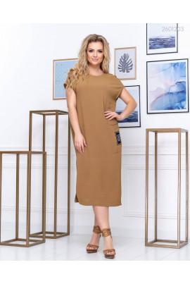 Капучінове плаття прямого покрою