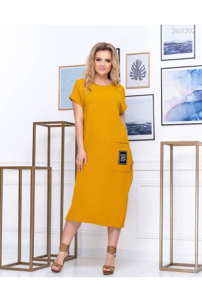 Гірчичне плаття прямого покрою
