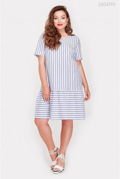 Модне блакитно-біле плаття великого розміру
