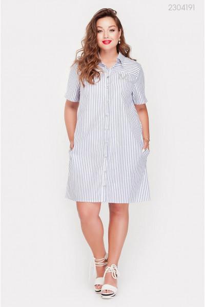 Смугасте плаття-сорочка великого розміру
