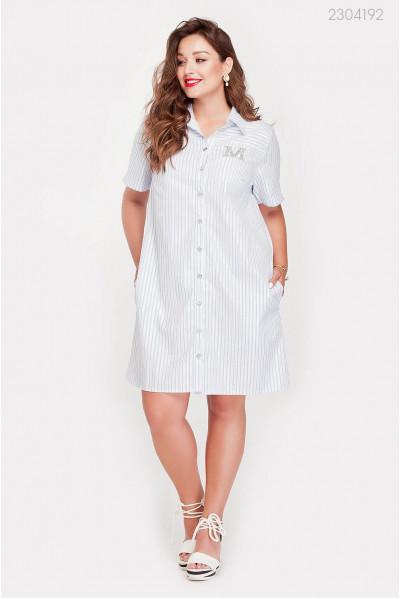 Смугасте біло-блакитне плаття-сорочка