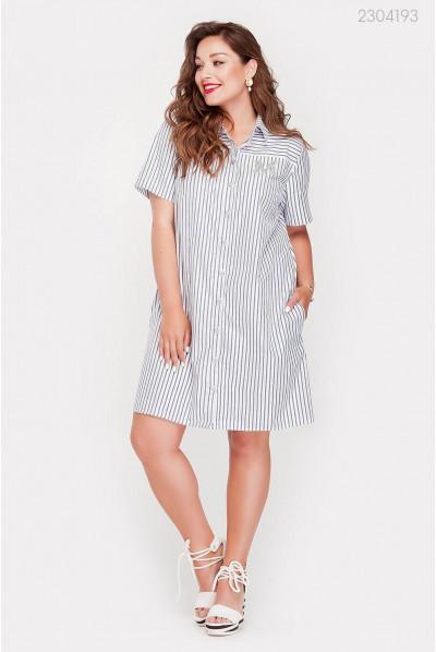 Смугасте сіро-блакитне плаття-сорочка