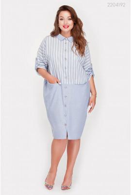 Льняна блакитна сукня великого розміру