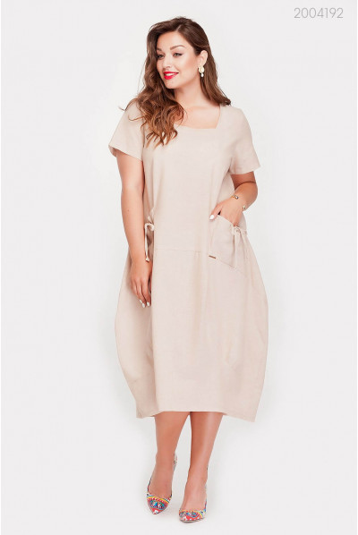 Батальна бєжева сукня з кишенями