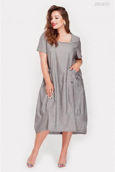 Батальна сіра сукня з кишенями
