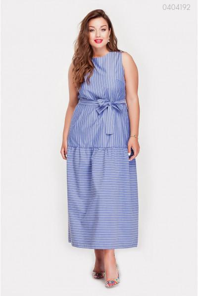 Котонове довге плаття синього кольору
