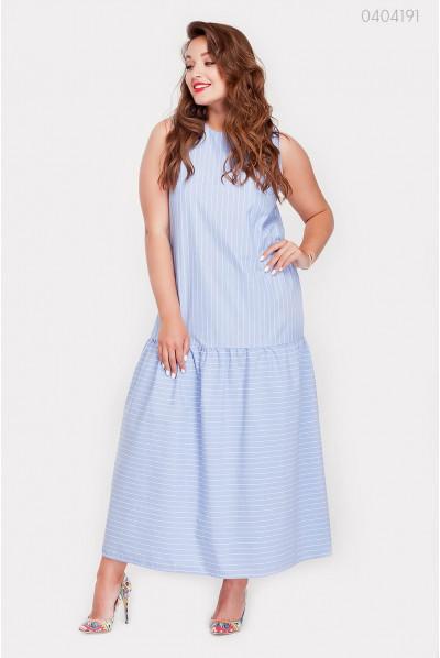 Блакитне натуральне плаття на літо з воланом