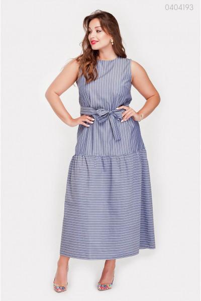 Синя натуральна сукня на літо з воланом