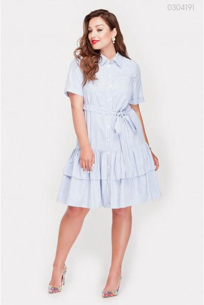 Весняне плаття з воланом блакитного кольору