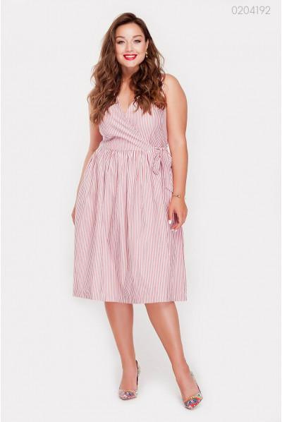 Літнє плаття в смужечку бордового кольору