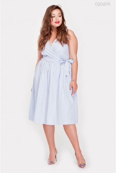Літнє блакитне плаття в смужечку блакитного кольору