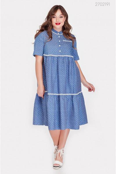 Цікаве батальне блакитне плаття з джинсу