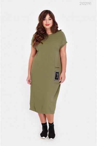 Зручне літнє плаття кольору хакі