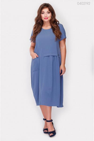 Легке трикотажне синє плаття