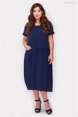 Легке трикотажне темно-синє плаття