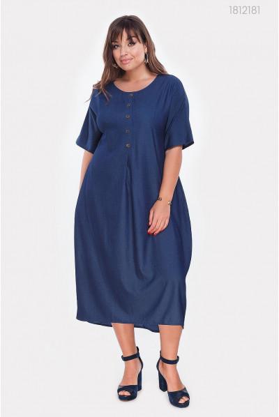 Плаття батал з джинсу синього кольору