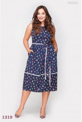 Синє літнє плаття великого розміру