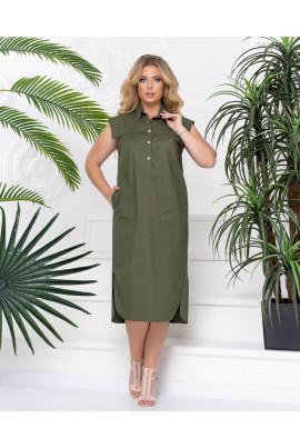Елегантне котонове плаття міді кольору хакі