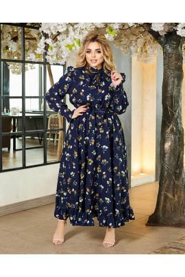 Синє неймовірно ніжне квіткове плаття великих розмірів