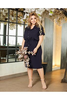 Синє повсякденне плаття міді для жінок з апетитними формами