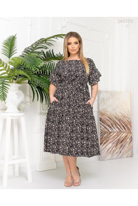 Чорна дивовижна сукня міді з квітковим принтом для повних жінок