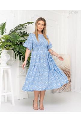 Блакитне жіночне заворожуюче плаття великих розмірів