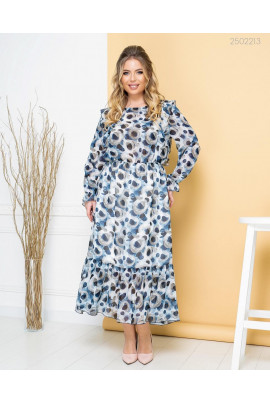 Синє універсальне принтоване плаття міді великих розмірів