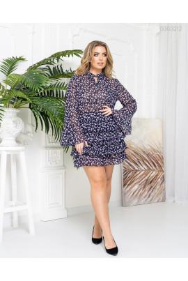 Шифонове коротке плаття з фрезовим принтом для повних жінок