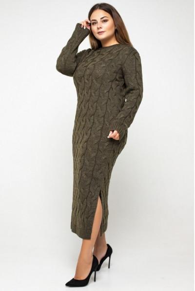 Тютюнове витончене тепле плаття міді великих розмірів