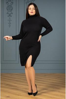 Чорна приваблива тепла сукня міді з розрізом