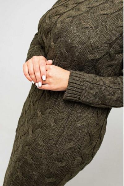 Зручне осіннє плаття на кожен день кольору хакі