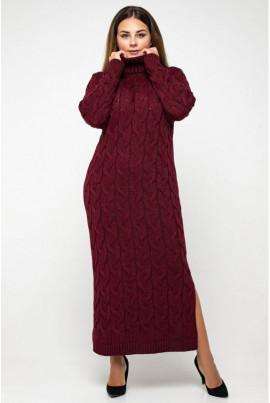 Бордова гармонічна яскрава сукня з коміром гольф