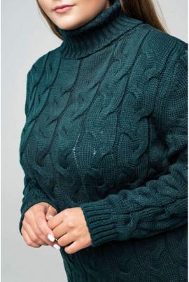 Зелена тепла в'язана сукня міді великих розмірів