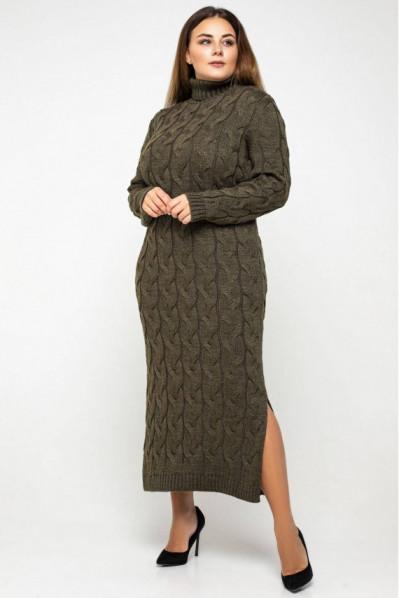Повсякденна в'язана сукня міді кольору тютюну з коміром гольф