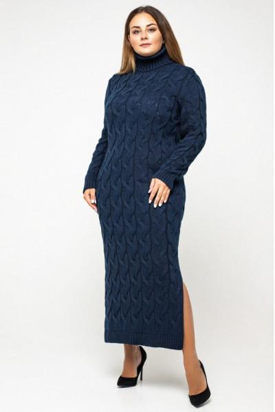 Темно-синя сучасна в'язана сукня міді