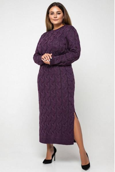 Розкішна в'язана сукня міді кольору баклажан