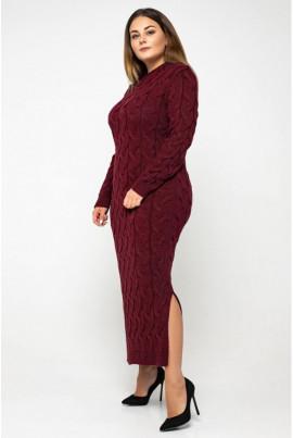Бордова дивовижна сукня міді з вирізом лодочка