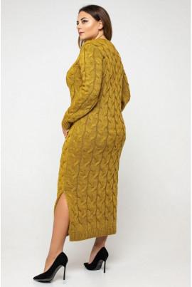Гірчичне трендове приталене плаття міді