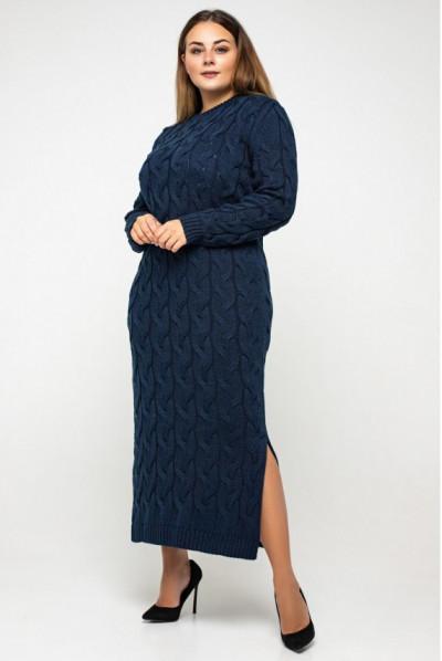 Темно-синя універсальна пікантна сукня міді з вирізом лодочка