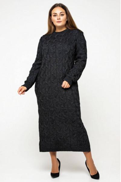 Чорна мінімалістична однотона сукня міді великих розмірів